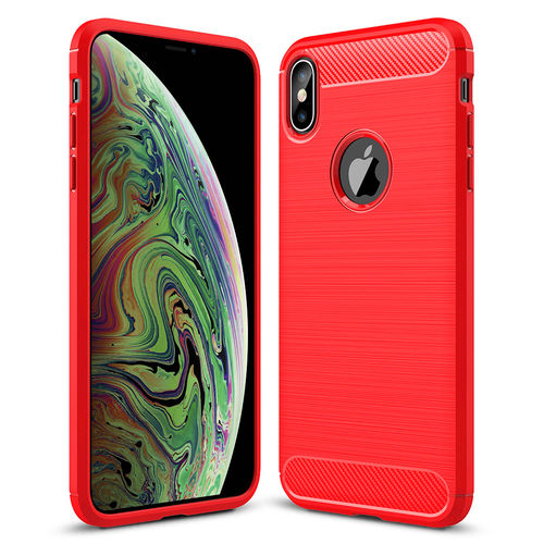 Flexi Carbon Fibre Tough Case for Apple iPhone Xs Max - Brushed Red